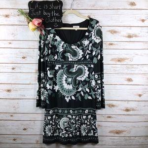 Oleg Cassini black white floral long sleeve dress